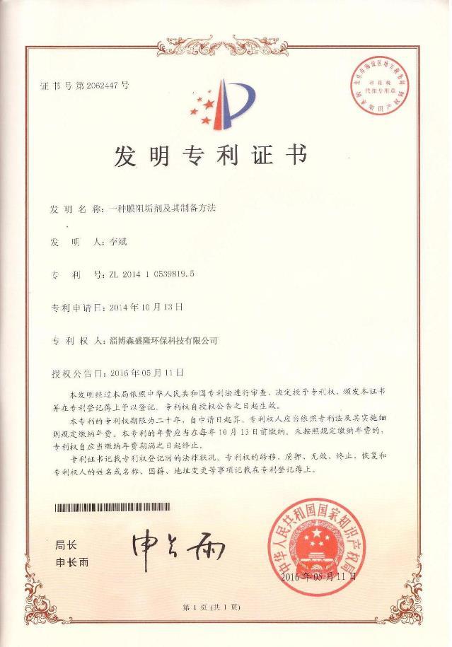 低磷膜阻垢剂SS815U专利技术证书
